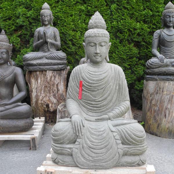 Neue Buddhafiguren: Grosse Buddha Figur Erdberührung grüner Lava Stein 116 cm