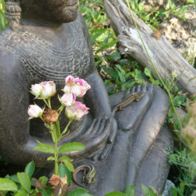 Buddhafigur Khmer Fluss Stein