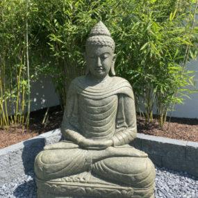 Buddhafigur Garten Bambus