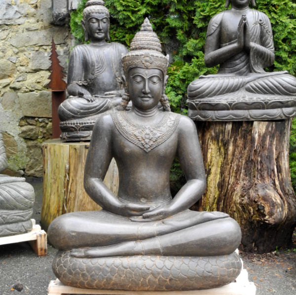 Buddha Figur Khmer Stil Fluss Stein 115 cm