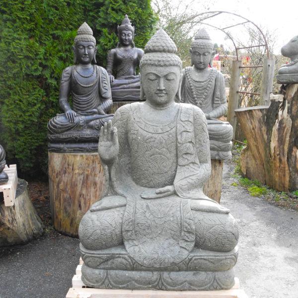Zu Sommer Öffnungszeiten besichtigen Grosser sitzender Buddha grüner Lava Stein 134 cm
