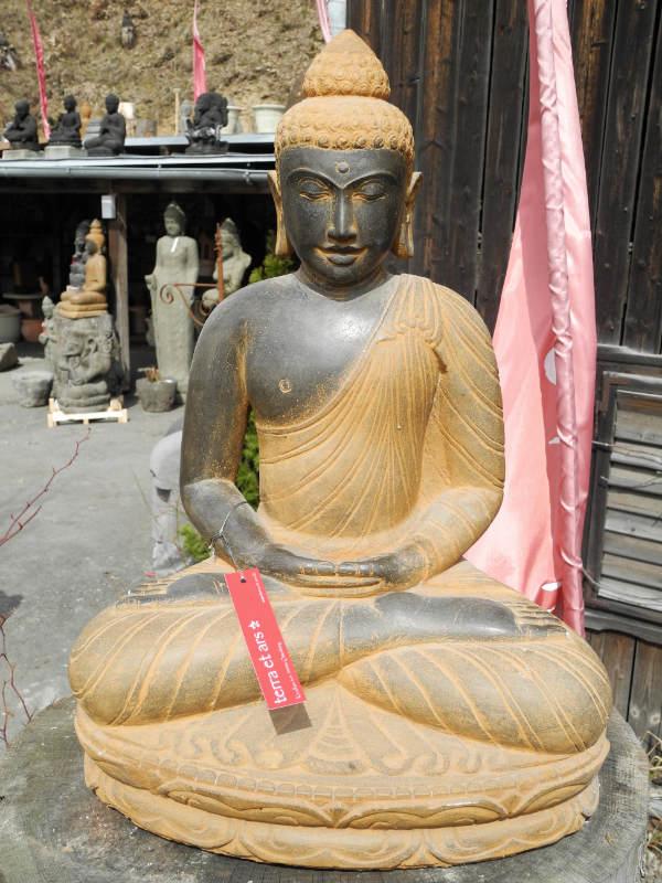 Buddha Fluss Stein patiniert