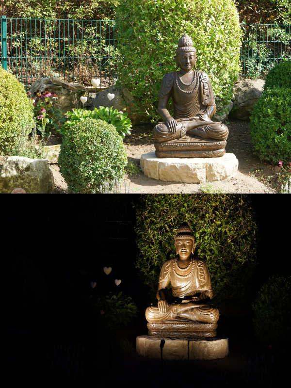 Buddhafigur Mala Tag und Nacht
