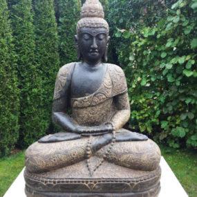 Buddhafigur auf Travertin Sockel