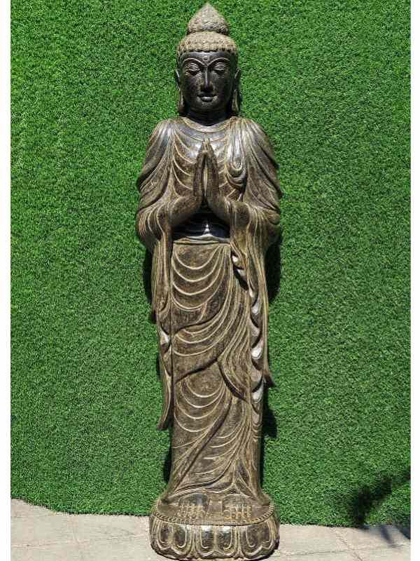 neue Buddha Figuren Namaste Buddha Fluss Stein 152cm