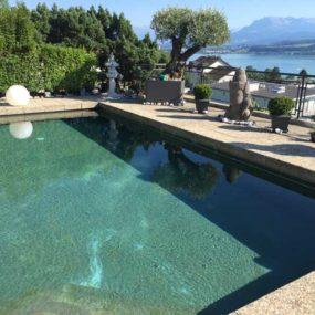 Dewi Büste auf Pool Terrasse