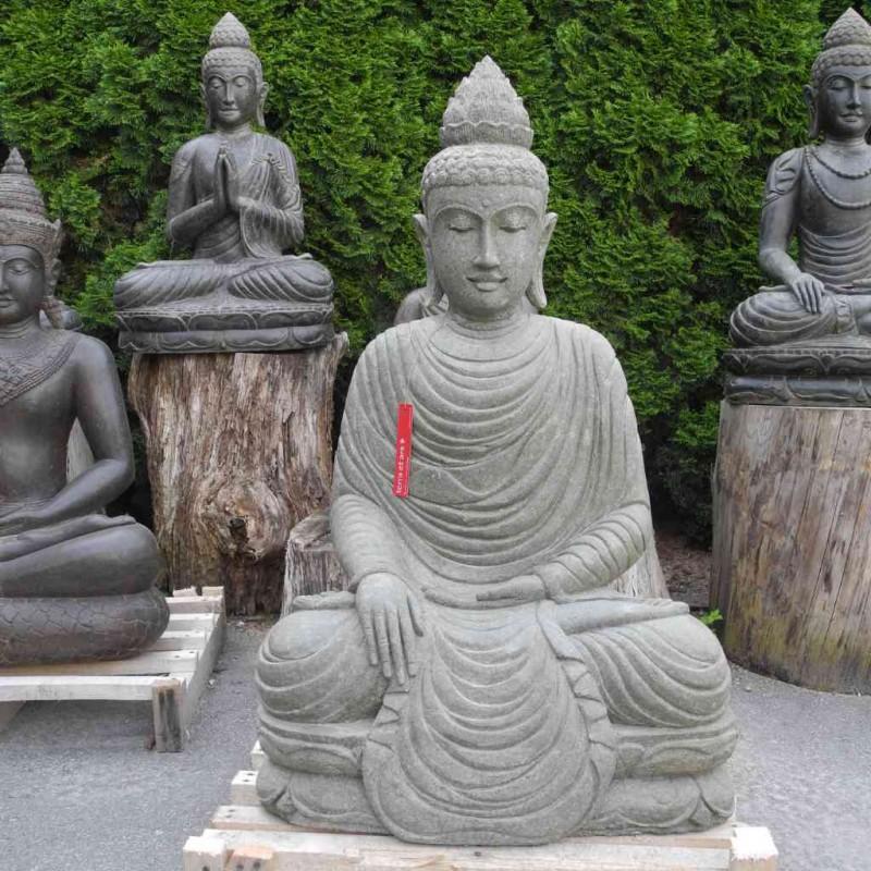 Grosse Buddha Figur Erdberührung grüner Lava Stein 116 cm