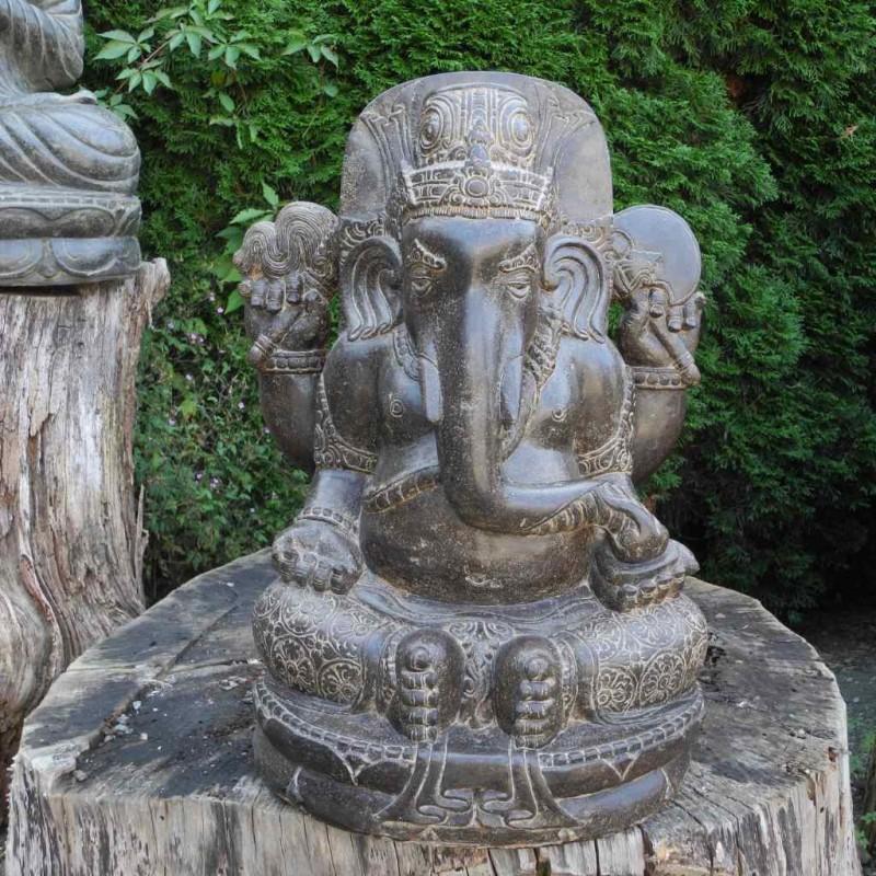 Fluss Stein Ganesha Statue antikbraun 62 cm