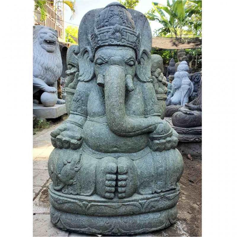 Garten Ganesha mit Maus grüner Lava Stein 80 cm