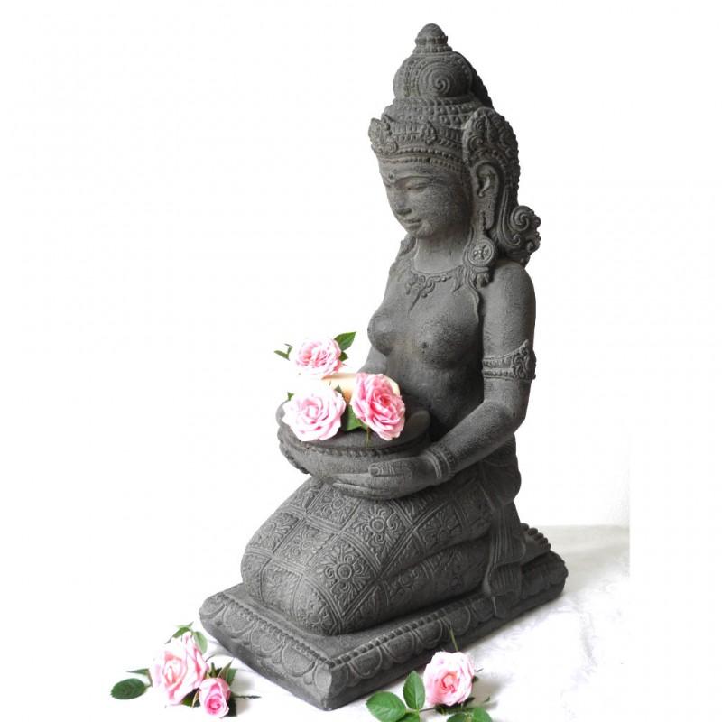 Dewi Figur mit Schale Steinguss grau 43 cm