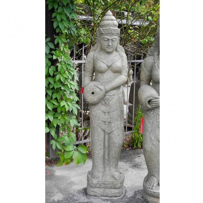 Grosse Dewi Figur mit Wasser Krug grüner Lavastein 177 cm