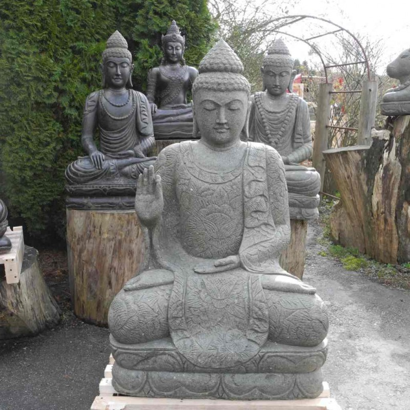 Grosser sitzender Buddha grüner Lava Stein 134 cm
