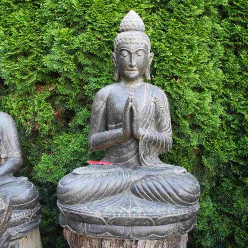 Buddha Figur mit Willkommensgeste Fluss Stein 101 cm