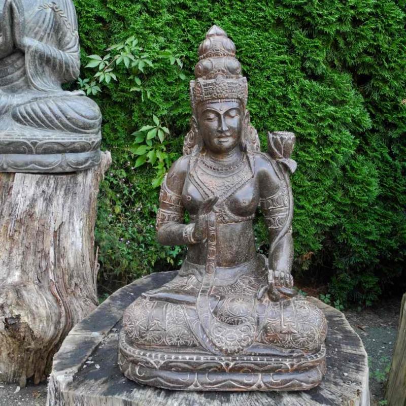 Kostbare Dewi Tara Statue mit Lotusblüte Fluss Stein 92 cm