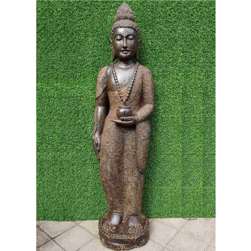 Edler stehender Medizin Buddha mit Gefäss Fluss Stein 151 cm