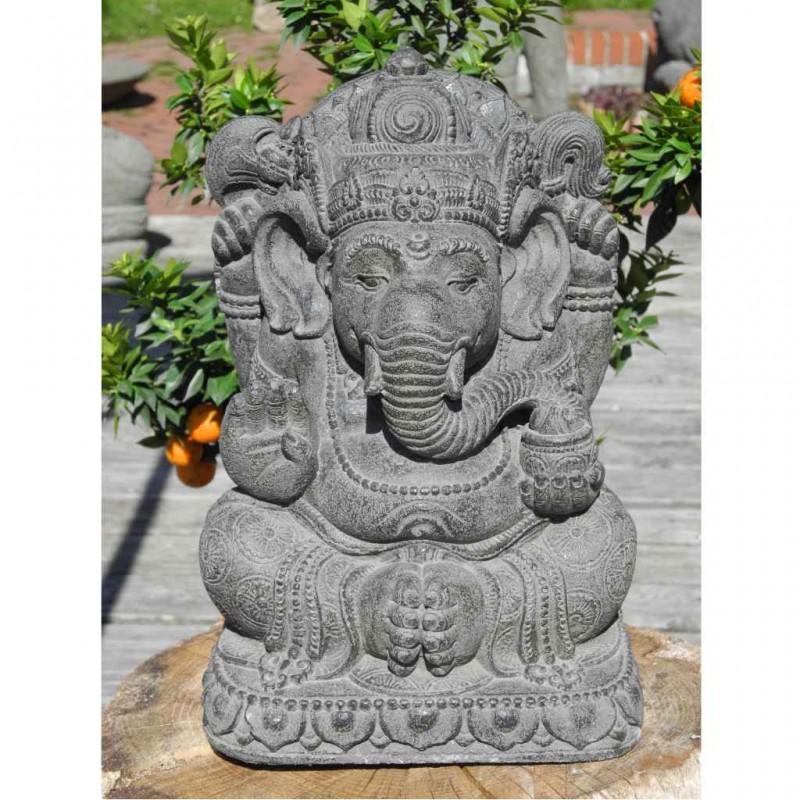 Ganesha Statue Steinguss grau 33 cm