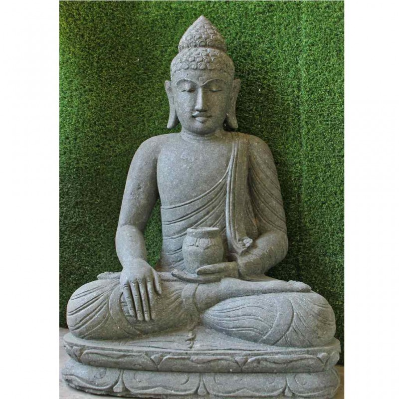 Medizin Buddha grüner Lava Stein 107 cm