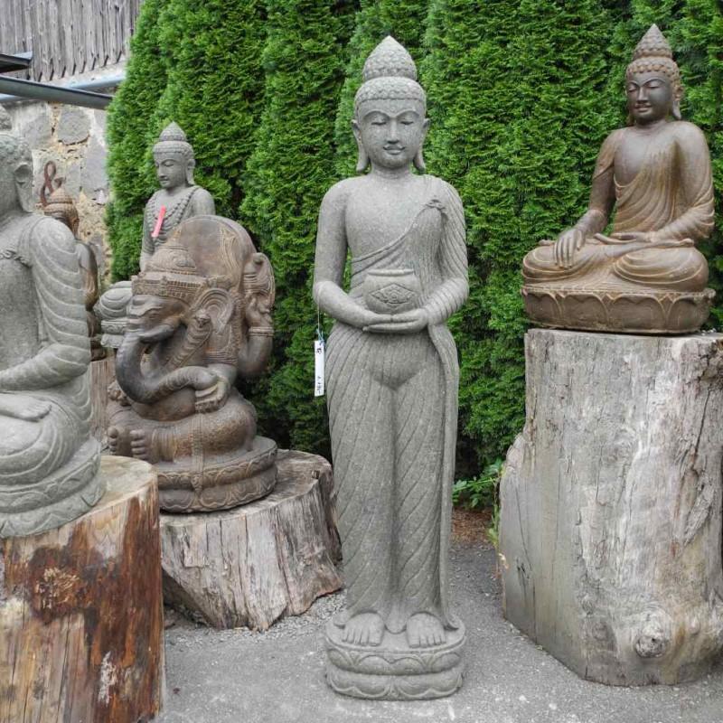 Stehender Buddha Lavastein Medizin Gefäß 180 cm