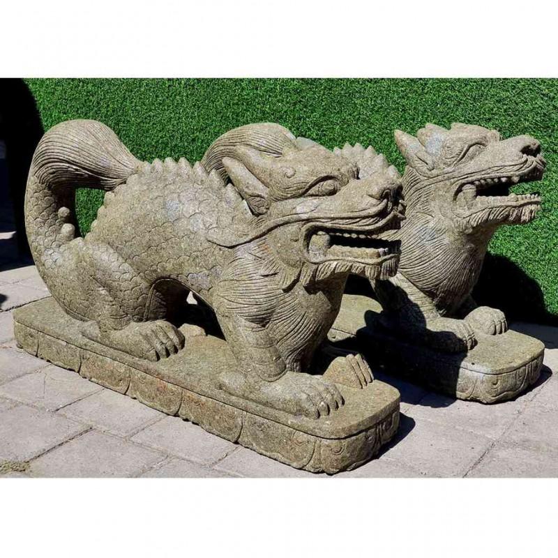 Chinesisches Glücksdrachen Paar grüner Lava Stein L 108 cm