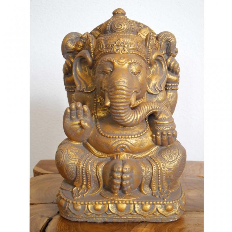 Ganesha Statue Steinguss goldfarben 33 cm