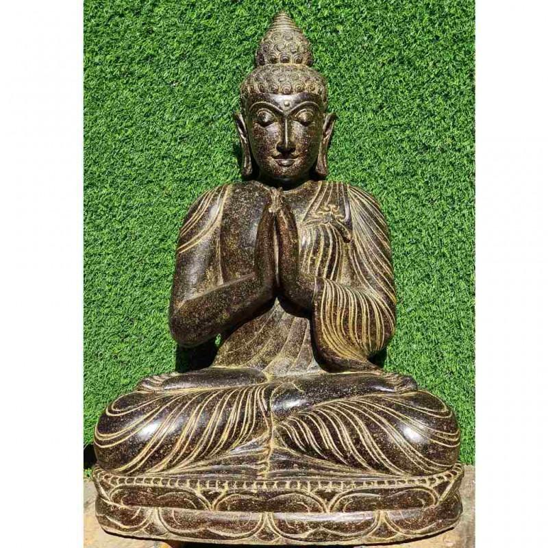 Edle Buddha Statue mit Grussgeste Fluss Stein 70 cm