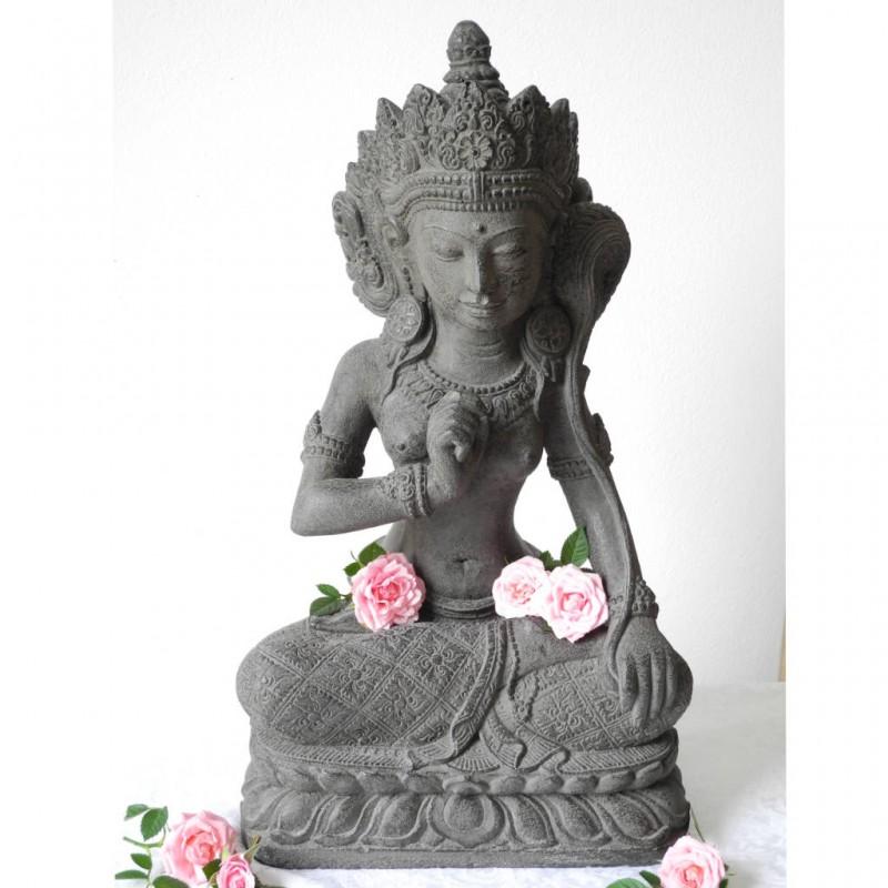 Dewi Sri Figur Glücksgöttin Steinguss grau 45 cm