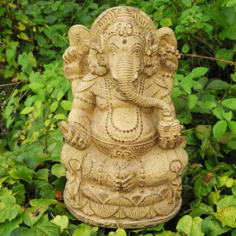 Filigrane Ganesha Figur Steinguss ocker 30 cm