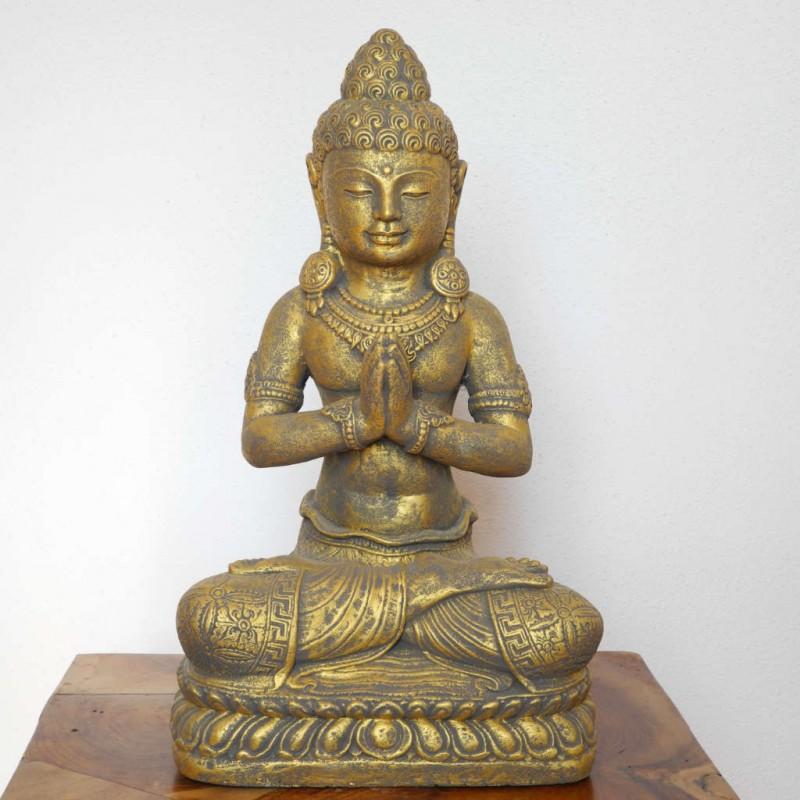 Buddha Statue mit Schmuck Stein Guss goldfarben 42 cm