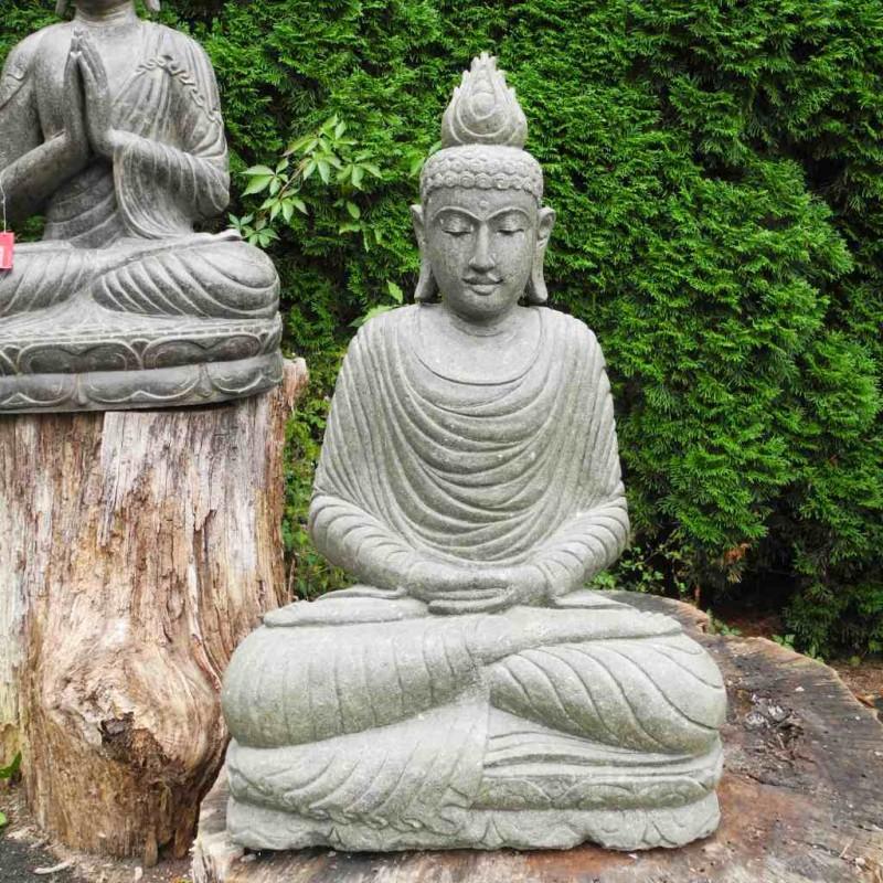 Sitzender Buddha mit Flamme grüner Lava Stein 90 cm