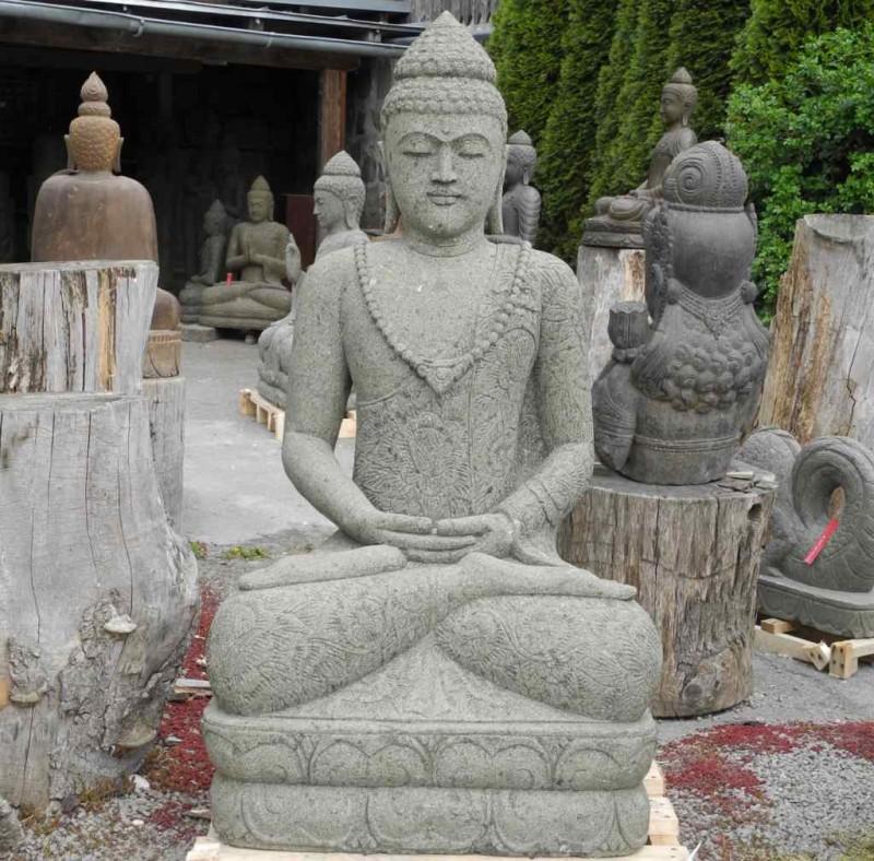 Grosse Buddhafigur grüner Lavastein 152 cm