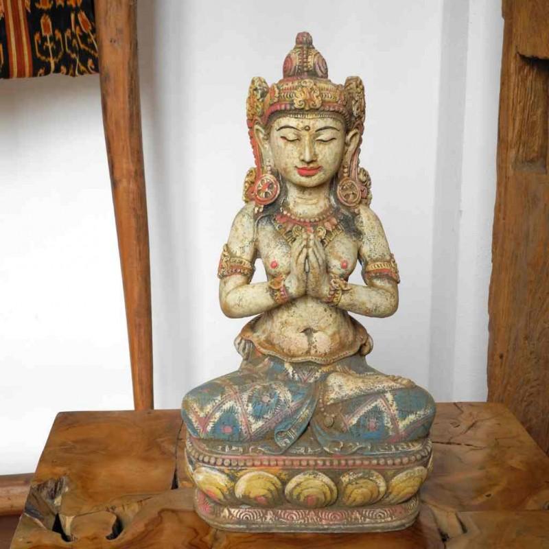 Dewi Statue mit Willkommensgeste Steinguss handbemalt 40 cm
