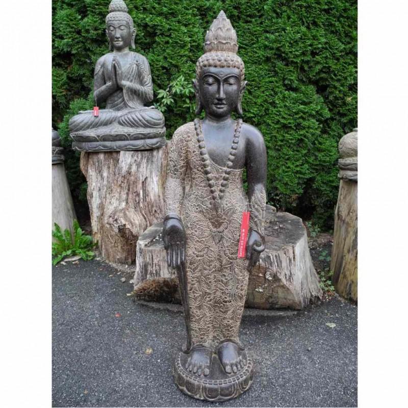 Wunschgewährender Buddha mit Mala Fluss Stein 130 cm