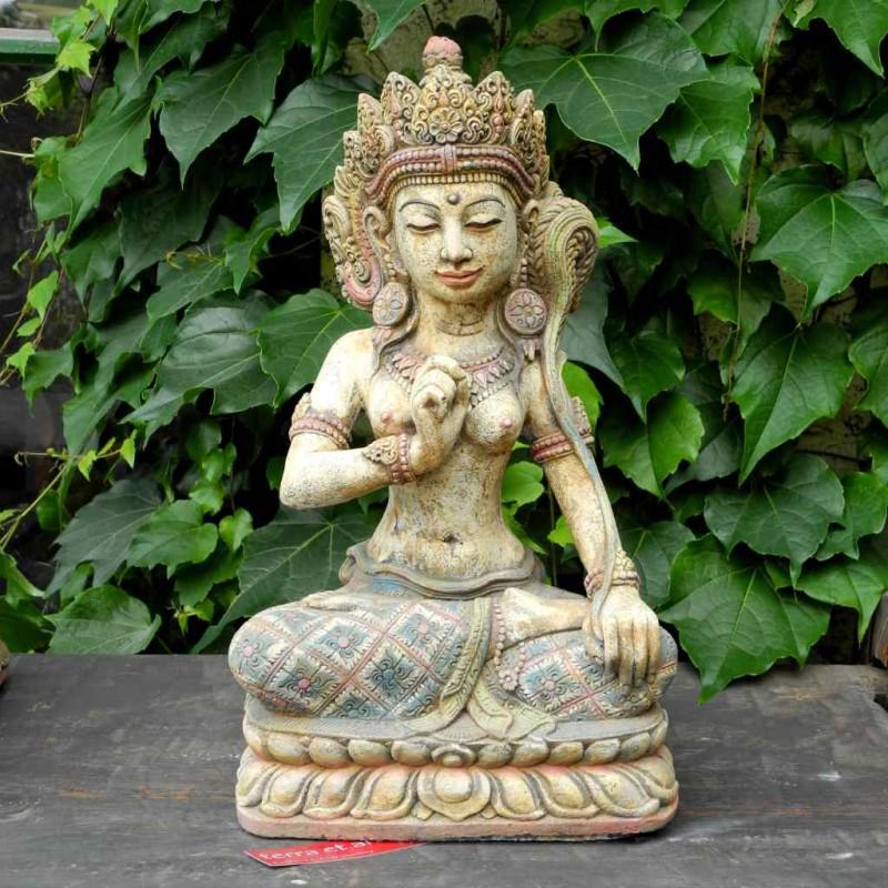Dewi Sri Figur Glücksgöttin Steinguss handbemalt 45 cm