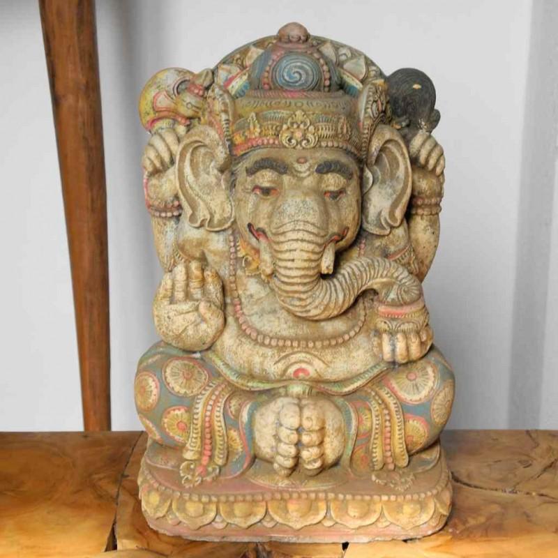 Bali Ganesha Statue Steinguss bunt bemalt 33 cm