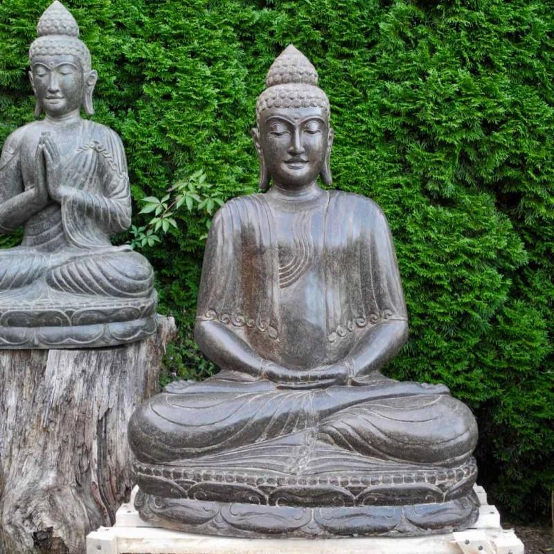 Buddha Figur in Meditation Fluss Stein 105 cm
