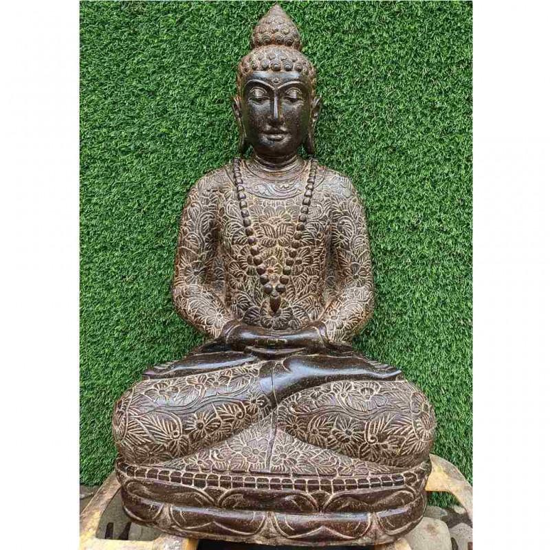 Buddhafigur mit Blumenkleid Fluss Stein 74 cm