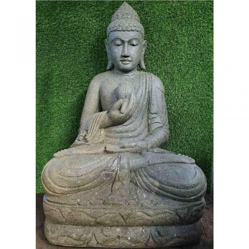 Sitzende Buddha Figur mit Lotusblüte grüner Lava Stein 104 cm
