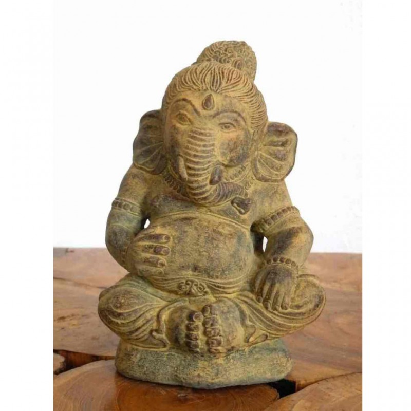 Kleine Ganesha Figur Glücksbringer Steinguss ocker 20 cm