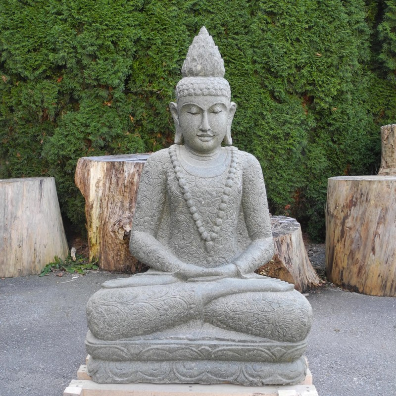 Lotus Buddha mit Mala und Blumenkleid grüner Lava Stein 115 cm