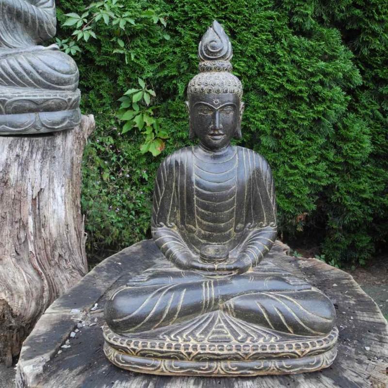 Filigraner Medizin Buddha mit Flamme Fluss Stein 70 cm