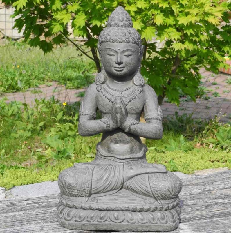 Buddha Statue mit Schmuck Garten Wohnung Stein Guss 42 cm