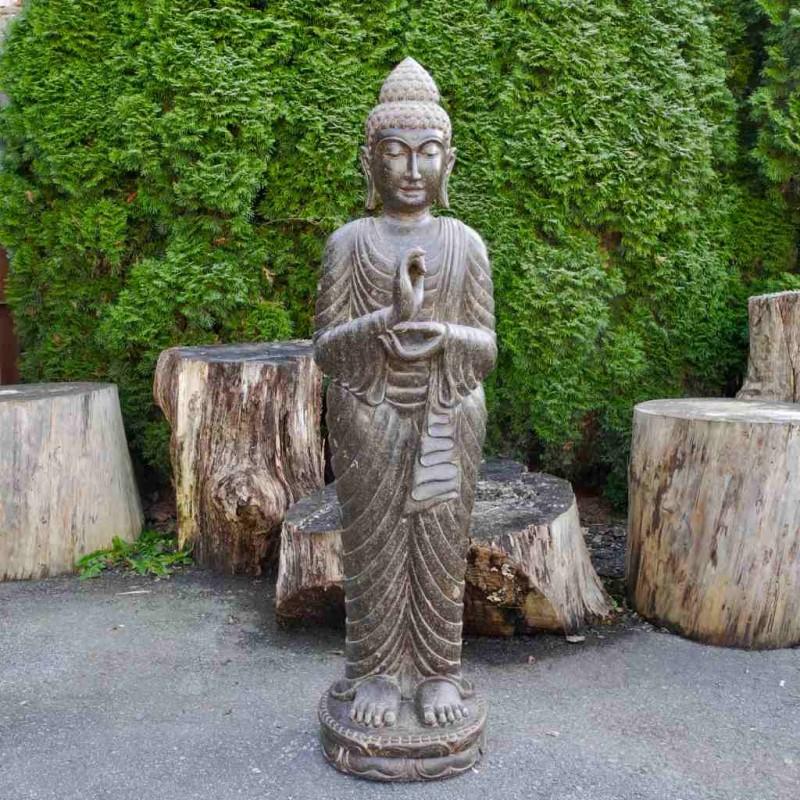 Stehender Buddha vitarka mudra Fluss Stein 153 cm