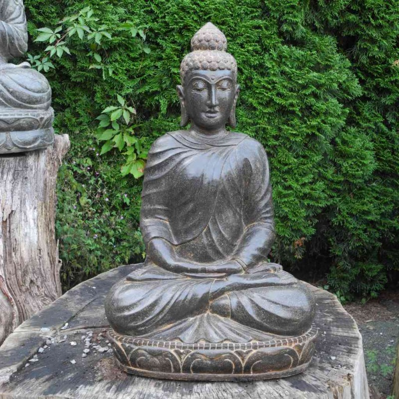 Filigrane Buddha Statue in Meditation Fluss Stein 70 cm