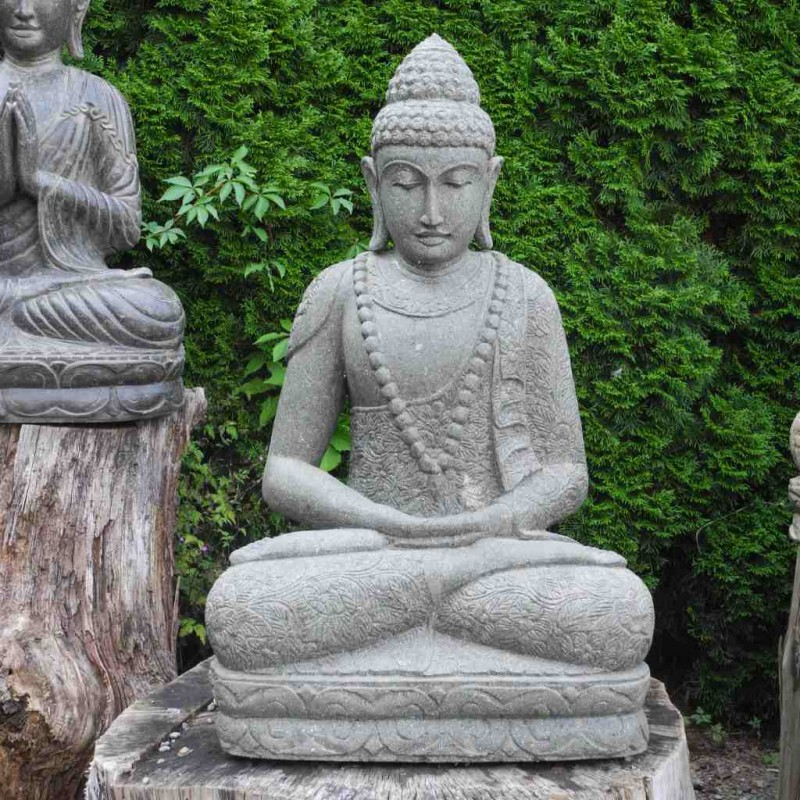 Buddha Figur mit Mala grüner Lava Stein 105 cm