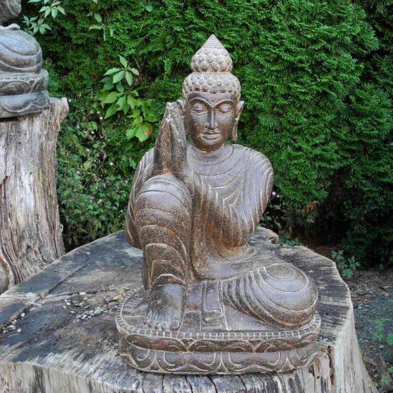 Träumende Buddha Statue rechts geneigt Fluss Stein 60 cm