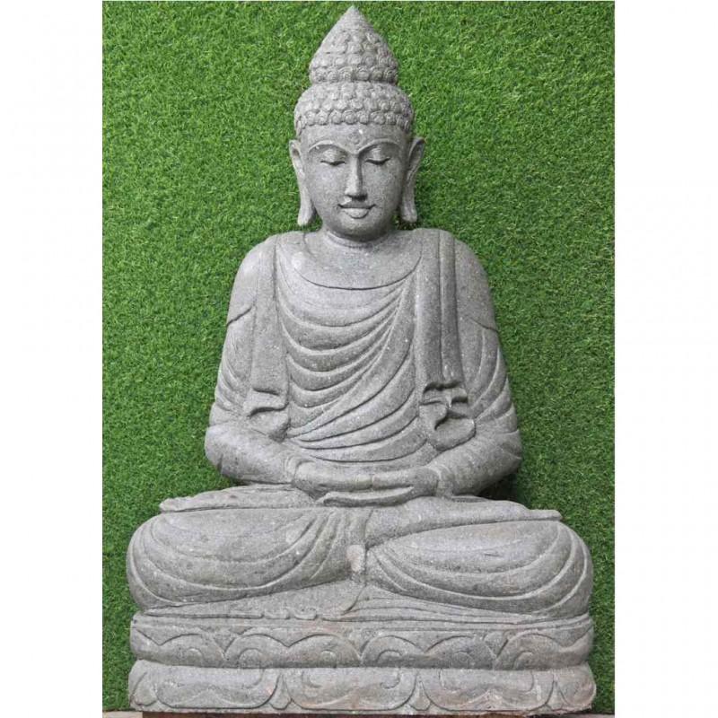 Sitzender Garten Buddha Meditation grüner Lava Stein 100 cm