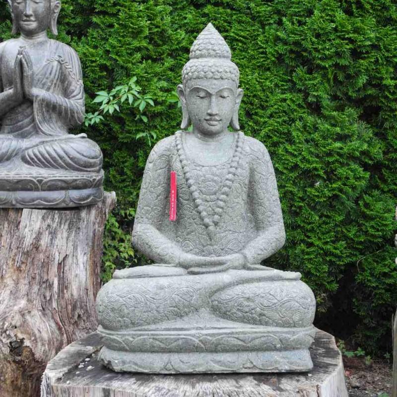 Mala Buddha mit Blumenkleid grüner Lava Stein 102 cm