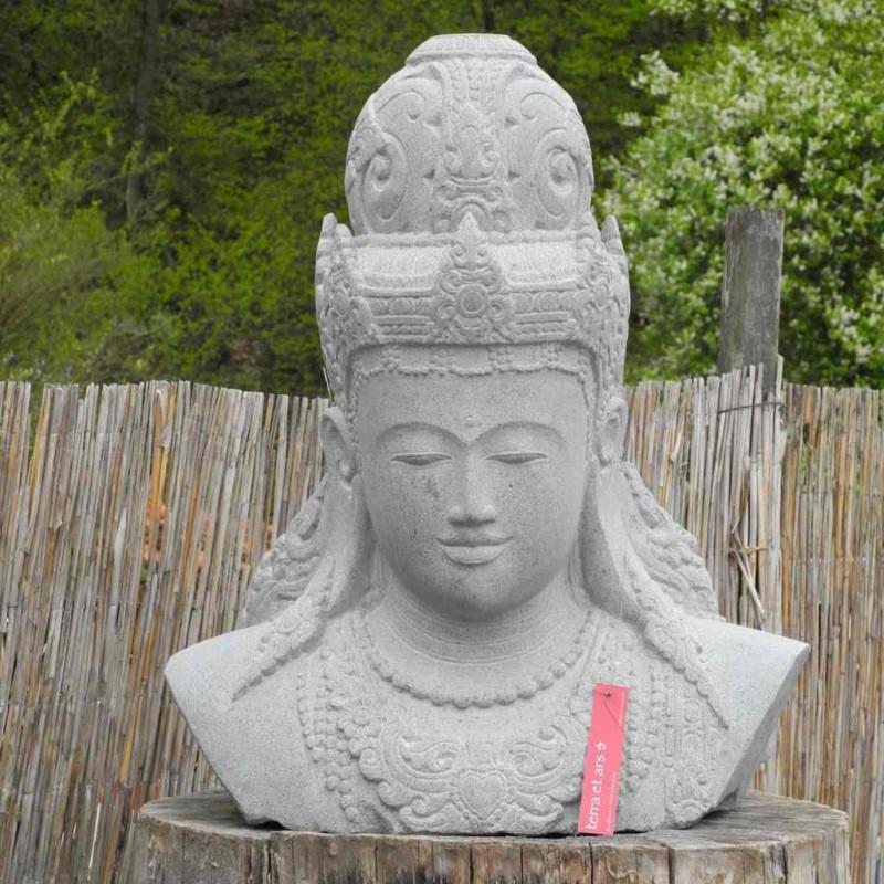 Dewi Kopf Büste Gartenfigur Fluss Stein 75 cm