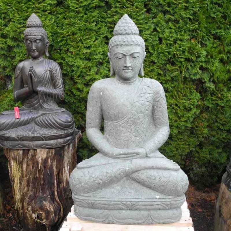 Meditierende Buddha Statue mit Gewand grüner Lava Stein 120 cm