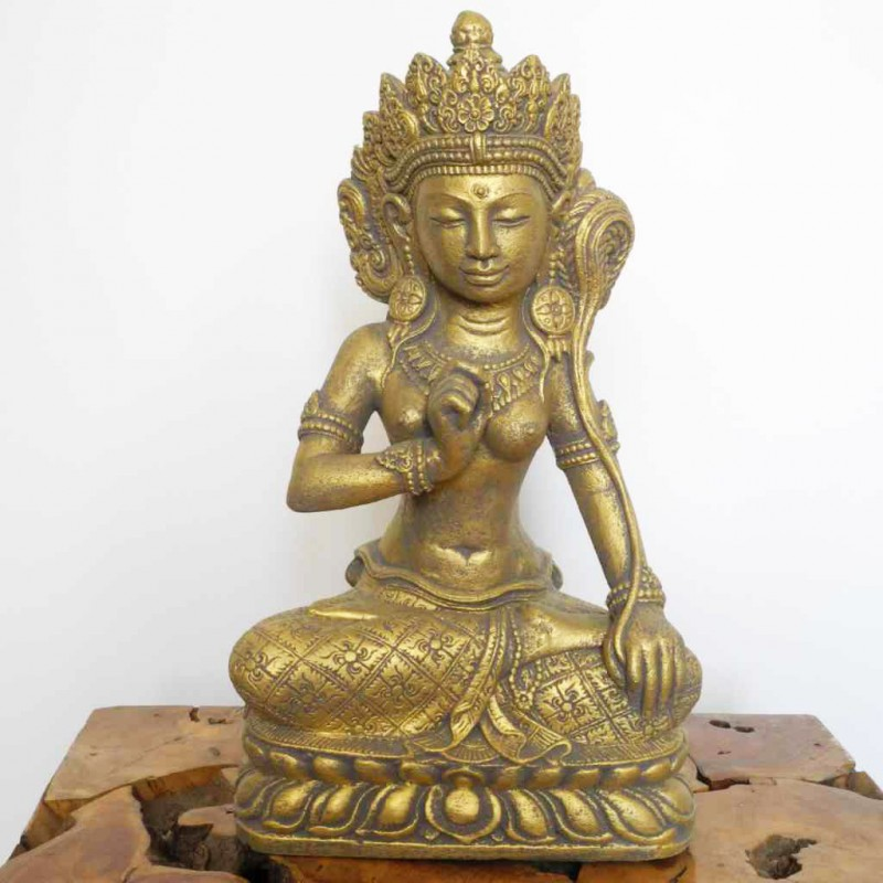 Dewi Sri Figur Glücksgöttin Steinguss goldfarben 45 cm